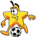 Clip Art Graphic of a Yellow Star Cartoon Character Kicking a Soccer Ball During a Game
