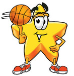 Clip Art Graphic of a Yellow Star Cartoon Character Spinning a Basketball on the Tip of His Finger