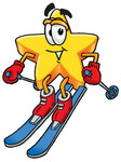 Clip Art Graphic of a Yellow Star Cartoon Character Skiing Downhill