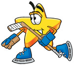Clip Art Graphic of a Yellow Star Cartoon Character Skating on Ice Skates and Carrying a Stick During an Ice Hockey Game