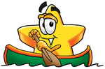 Clip Art Graphic of a Yellow Star Cartoon Character Rowing a Boat