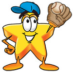 Clip Art Graphic of a Yellow Star Cartoon Character Catching a Baseball With a Glove