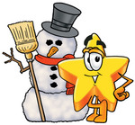 Clip Art Graphic of a Yellow Star Cartoon Character With a Snowman on Christmas
