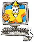 Clip Art Graphic of a Yellow Star Cartoon Character Waving From Inside a Computer Screen