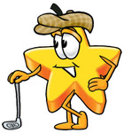 Clip Art Graphic of a Yellow Star Cartoon Character Leaning on a Golf Club While Golfing