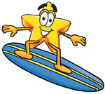 Clip Art Graphic of a Yellow Star Cartoon Character Surfing on a Blue and Yellow Surfboard