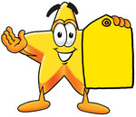 Clip Art Graphic of a Yellow Star Cartoon Character Holding a Blank Yellow Sales Price Tag