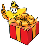 Clip Art Graphic of a Yellow Star Cartoon Character Standing by a Christmas Present