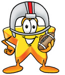 Clip Art Graphic of a Yellow Star Cartoon Character in a Helmet, Holding a Football