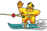 Clip Art Graphic of a Yellow Star Cartoon Character Waving While Speeding Past on Waterskis