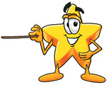 Clip Art Graphic of a Yellow Star Cartoon Character Holding a Pointer Stick