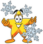 Clip Art Graphic of a Yellow Star Cartoon Character With Three Snowflakes in Winter