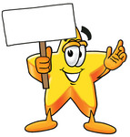 Clip Art Graphic of a Yellow Star Cartoon Character Holding a Blank Sign