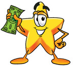Clip Art Graphic of a Yellow Star Cartoon Character Holding a Dollar Bill