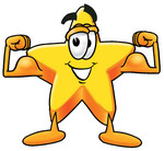 Clip Art Graphic of a Yellow Star Cartoon Character Flexing His Arm Muscles