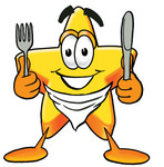 Clip Art Graphic of a Yellow Star Cartoon Character Holding a Knife and Fork