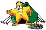 Clip Art Graphic of a Yellow Star Cartoon Character Camping With a Tent and Fire