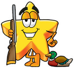 Clip Art Graphic of a Yellow Star Cartoon Character Duck Hunting, Standing With a Rifle and Duck