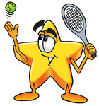 Clip Art Graphic of a Yellow Star Cartoon Character Preparing to Hit a Tennis Ball