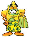 Clip Art Graphic of a Yellow Star Cartoon Character in Green and Yellow Snorkel Gear