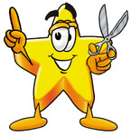 Clip Art Graphic of a Yellow Star Cartoon Character Holding a Pair of Scissors