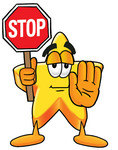 Clip Art Graphic of a Yellow Star Cartoon Character Holding a Stop Sign