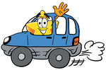 Clip Art Graphic of a Yellow Star Cartoon Character Driving a Blue Car and Waving