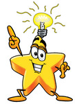 Clip Art Graphic of a Yellow Star Cartoon Character With a Lightbulb Over His Head While Getting an Idea