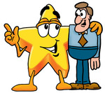 Clip Art Graphic of a Yellow Star Cartoon Character Talking to a Business Man
