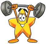 Clip Art Graphic of a Yellow Star Cartoon Character Holding a Heavy Barbell Above His Head