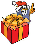Clip Art Graphic of a Suitcase Luggage Cartoon Character Standing by a Christmas Present