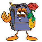 Clip Art Graphic of a Suitcase Luggage Cartoon Character Holding a Red Rose on Valentines Day