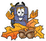 Clip Art Graphic of a Suitcase Luggage Cartoon Character With Autumn Leaves and Acorns in the Fall
