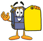 Clip Art Graphic of a Suitcase Luggage Cartoon Character Holding a Yellow Sales Price Tag