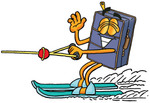 Clip Art Graphic of a Suitcase Luggage Cartoon Character Waving While Water Skiing