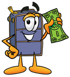 Clip Art Graphic of a Suitcase Luggage Cartoon Character Holding a Dollar Bill