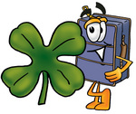 Clip Art Graphic of a Suitcase Luggage Cartoon Character Wearing a Saint Patricks Day Hat With a Clover on it