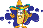Clip Art Graphic of a Crunchy Hard Taco Character Wearing a Sombrero and Standing in Front of a Blue Paint Splatter on a Logo