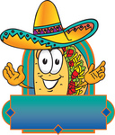 Clip Art Graphic of a Crunchy Hard Taco Character Wearing a Sombrero on a Blank Label
