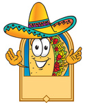 Clip Art Graphic of a Crunchy Hard Taco Character Wearing a Sombrero on a Blank Tan Label
