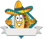 Clip Art Graphic of a Crunchy Hard Taco Character Wearing a Sombrero on a Blank Label Logo With a White Banner and Blue Diamond