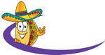Clip Art Graphic of a Crunchy Hard Taco Character Wearing a Sombrero Standing Behind a Purple Dash on an Employee Nametag or Business Logo
