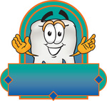 Clip Art Graphic of a Human Molar Tooth Character Over a Blank Label