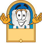 Clip Art Graphic of a Human Molar Tooth Character on a Blank Tan Label