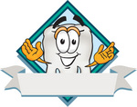 Clip Art Graphic of a Human Molar Tooth Character Over a Blank White Banner Label With a Blue Diamond