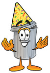 Clip Art Graphic of a Metal Trash Can Cartoon Character Wearing a Birthday Party Hat