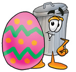 Clip Art Graphic of a Metal Trash Can Cartoon Character Standing Beside an Easter Egg