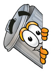 Clip Art Graphic of a Metal Trash Can Cartoon Character Peeking Around a Corner