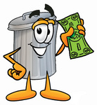 Clip Art Graphic of a Metal Trash Can Cartoon Character Holding a Dollar Bill