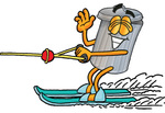 Clip Art Graphic of a Metal Trash Can Cartoon Character Waving While Water Skiing